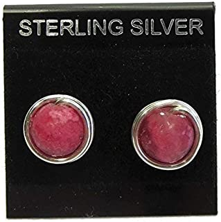 Rhodochrosite and Sterling Silver Wire-Wrapped Post Earrings - Pair A