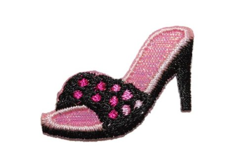 alles-meine.de GmbH Schuh Pantoffel High Heel 3,1 cm * 2,2 cm Bügelbild Pumps Heels rosa pink Frau Aufnäher Applikation
