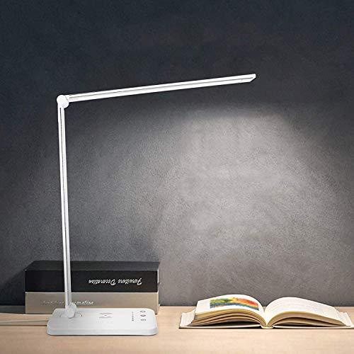 Lámpara de escritorio LED con puerto USB de carga inalámbrica Lámpara de mesa con función de protección ocular Control táctil 5 modos de iluminación para estudio, lectura, dormitori
