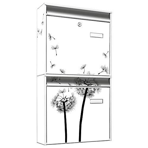 BANJADO Briefkastenanlage 2 fach   Stahl weiß mit 2 Briefkästen   Doppelbriefkasten 36x64x10cm   inklusive Namensschild   Wandmontage mit Motiv Pusteblume 2