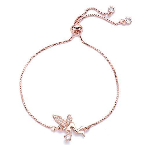 Mano Pulseras Brazalete Joyería Mujer Clear Zircon Angel Charm Bracelet Moda Mujer Joyería Pulseras De Cadena Ajustable