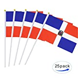"""Quantity:25 pack stick flags Flag size:8.2"""" x 5.5"""",Stick size:11.8"""" Material:Plastic stick,polyester fabric flag Use:Anniversary Celebration, National Day, Parade, Decoration"""