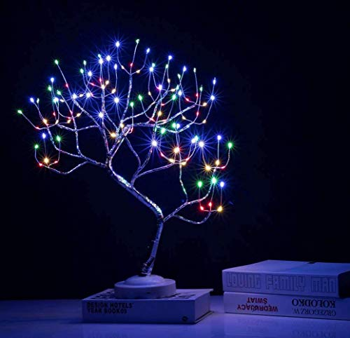 FuChsun Bonsai Tree Light 108 LED 4 Color Shimmer Silver Branches Battery and USB Operated (Galaxy Glow Silver Branch)