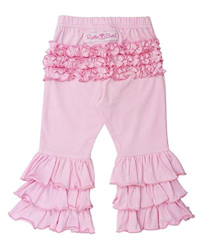 RuffleButts Girls Pink Stretchy Flare Pants w/Ruffles - 2T