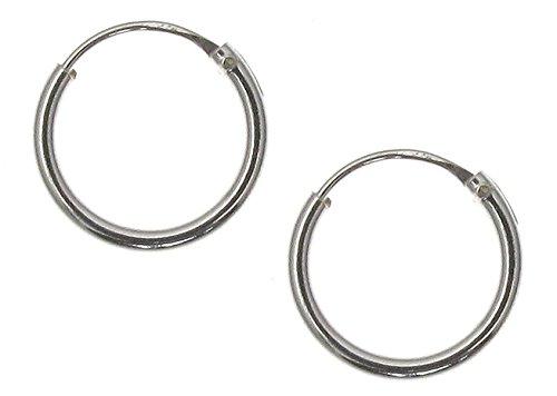 Touch Jewellery - TJ0560 - Orecchini a Cerchio semplici in Argento Puro, 10 mm-12mm