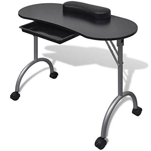 vidaXL Table de manucure pliante noir avec roulettes et tiroir Mobilier manucure