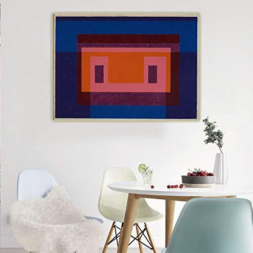 Impresión en lienzo Josef Albers 《Variante Adobe 4 colores cálidos centrales rodeados por 2 azules》 Arte en lienzo Pintura al óleoDecoración para el hogar 35x50cm Sin marco