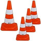 UvV Leitkegel Warnleitkegel Pylon, 4 Stück Set Kegel orange 2 weiße Streifen Nicht reflektierend,...