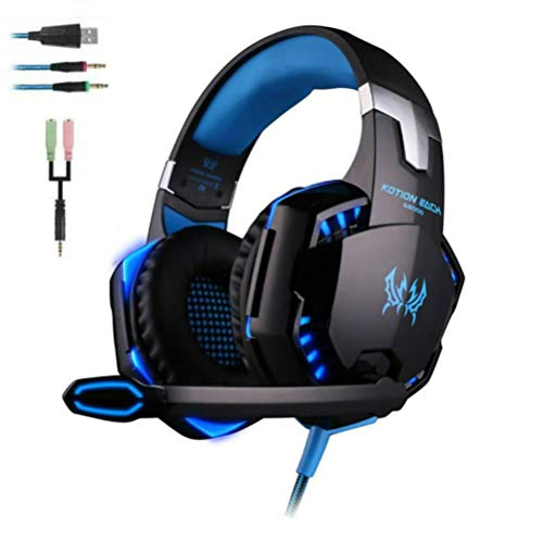 Gaming Headset für PS4 EACH G2000 Over Ear Kopfhörer PC mit Mikrofon Surround Sound Leds Noise Cancelling für Xbox One/PC/Iphone/Laptop/Mac/Handy Headphone mit Mic Heavy Bass LED Light for PC Gamer