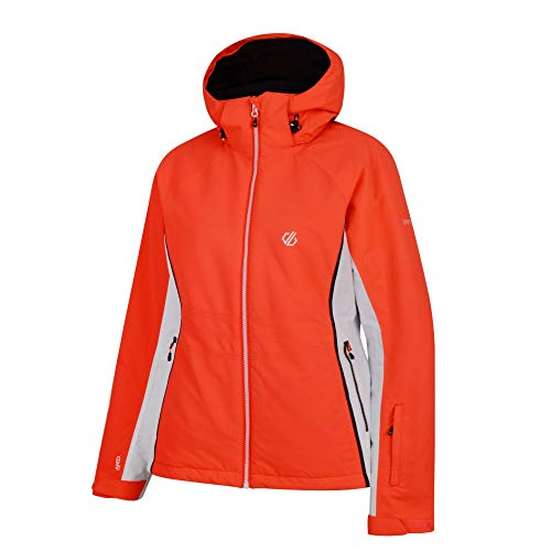 Dare 2b Damen Thrive Waterproof & Breathable High Loft Insulated Ski & Snowboard Jacket with Fixed Foldaway Hood and Snowskirt wasserdichte, isolierte Jacken, Fiery Coral, 16