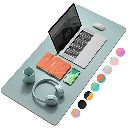 YSAGi - Almohadilla de computadora multifuncional para oficina, ultrafina e impermeable de piel sintética, alfombrilla de computadora de doble uso para oficina o hogar (Azul 1, 90x43)