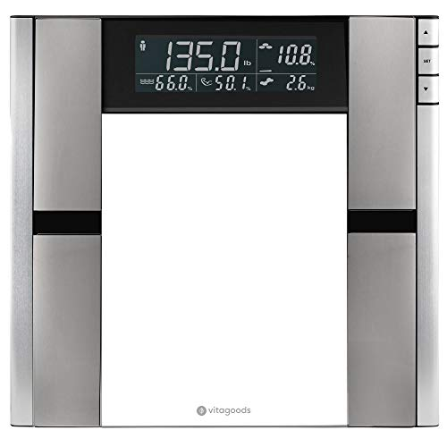 Vitagoods Form Fit Digital Scale and Body Analyzer-Tracks Fat, Weight, Muscle/Bone Mass, Water Weight-397 Pound Capacity, Silver 5 Pound