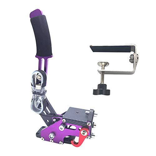 USB-Handbremse, 14 Bit Universal horizontaler Drift Rally Racing Handbremshebel, professionelle Gaming-Peripheriegeräte, verstellbare Höhe, Drift für Rennspiele G25/27/29 T500 (lila mit Klemme)