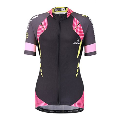 YOUJIA Confortable Maillot de Cyclisme à Manches Courtes À Pois Shirt Haut pour Femmes (Rose, S)