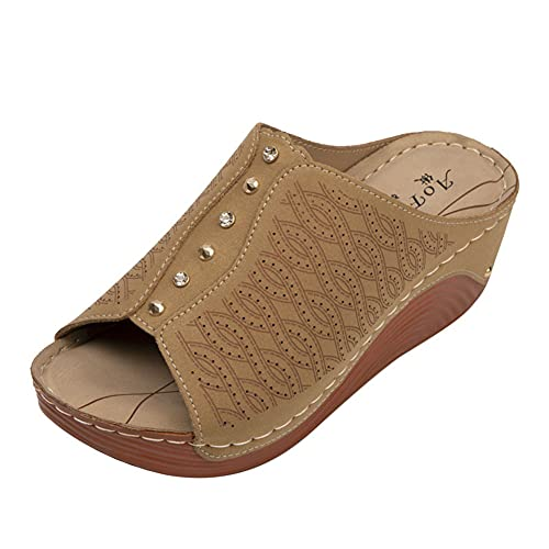 Liart Zapatillas de Mula Sandalias de Mujer con cuña Ancho de Ajuste Peep Toe Antideslizante Zapatillas de Playa