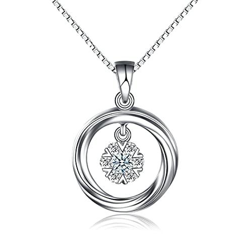 KnSam Collar para mujer de oro blanco 950 de platino y oro de 18 quilates con diamante de 0,068 quilates 950 platino