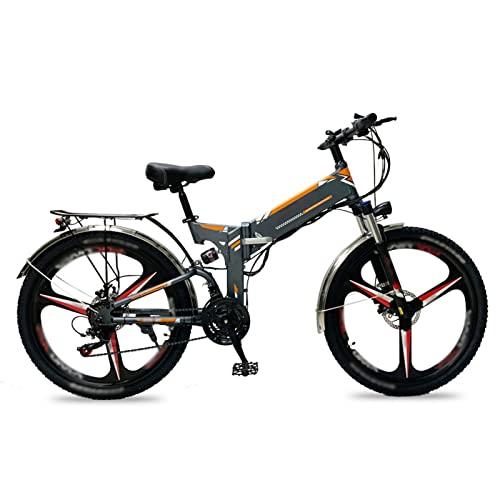 Liu Yu·casa creativa Bicicleta eléctrica para Adultos 26 Pulgadas Neumático Ebikes Plegable 48V Batería de Litio E-Bike 500W Mountain Snow Beach Bicicleta eléctrica (Color : 3-Gray)