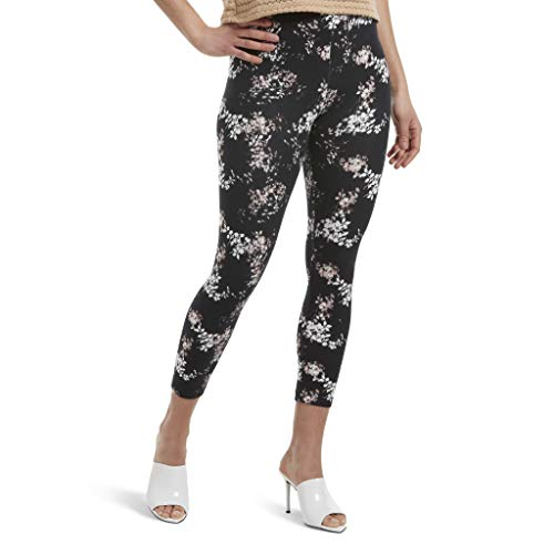 HUE Women's Wide Waistband Blackout Cotton Capri Leggings, Assorted, Watercolor Floral/black, XS