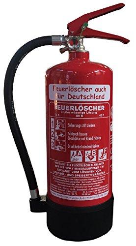 NEU 3 l Fettbrand Schaum Feuerlöscher auch für Deutschland DIN EN3 GS + Wandhalter + Manometer + Standfuß, Fettbrandlöscher 13 A, 89 B, 40F = 4 LE