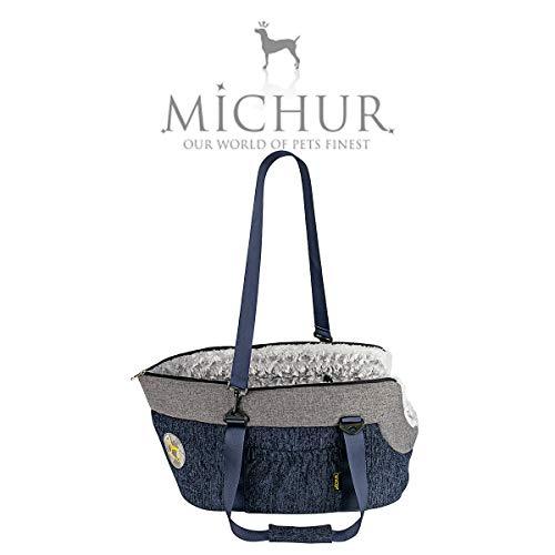 Michur Linea hundetransportbox, hundetragetasche, Hunde Transport Auto, katzentransporttasche, hundetransporttasche, Handtasche, Tragetasche, blau, grau, 52 x 30 x 28 cm