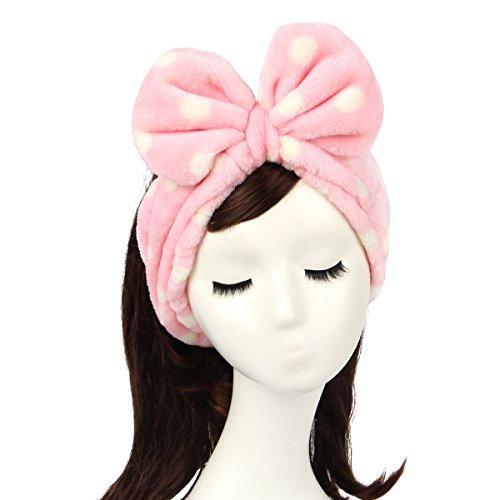 Shintop Women Fashion Lovely Soft Carol Fleece Bowknot Bow Makeup Cosmetic Shower Elastic Hair Band Hairlace Headband (Pink Polka dots)
