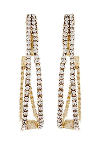 Clip en los pendientes - El oro aros con claros cristales de circonio cúbico chapado - Arlena por Bello London