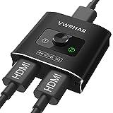 HDMI Switch,【4K@60Hz HDR】 Aluminio Conmutador HDMI 2.0 Bidireccional 2 Entrada a 1 Salida o HDMI Splitter 1x2, Soporta 4K 3D 1080P UHD para TV HDTV Decodificador BLU-Ray/DVD Player PS3 PS4 Xbox