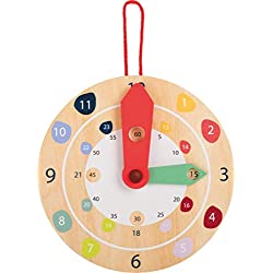 small foot wooden toys Teaching Time Wall Clock Educate Educational Toy Designed for Children Ages 4+
