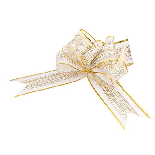 Oblique Unique® Geschenk Schleife mit Geschenkband Glänzend für Geschenke Tüten Zuckertüten zum Basteln Dekorieren Verzieren - wählbar (Weiss)