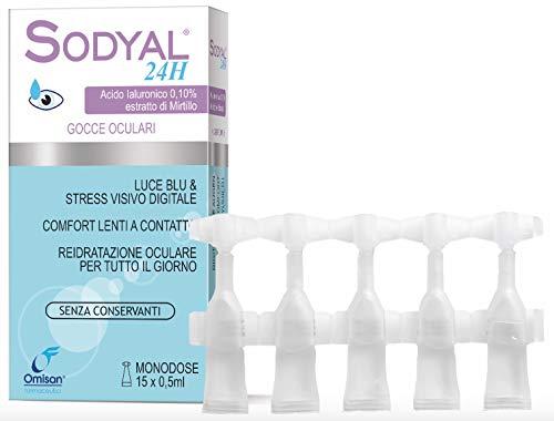 Sodyal 24 Gocce Oculari Monodose, senza conservanti, con Acido Ialuronico e Mirtillo