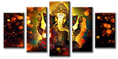 DJSYLIFE Hindu God Ganesha Wall Art Canvas Printed for Living Room Decorative Painting Modern Home Decor 5pcs HD Print Lord Ganesha Elephant Picture Art Wall Framed Ready to Hang (40'W x 22'H)