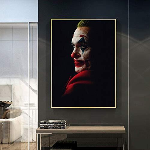 GJQFJBS Vintage Movie The Joker Gemälde auf Leinwand Dark Style Poster und drucken Wandkunst Bild für Wohnzimmer Home Decoration Replica (Rahmenlos) 50x90CM