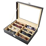 Siveit 8 Slot Sunglass Organizer Leather Eyeglasses Collector Eyewear Display Case Storage Box (8 Slots)