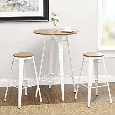 Better Homes and Gardens Harper 3-Piece Pub Set Bar-Style 42  Table with Two Seating 29  (White)