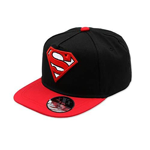 SUPERMAN DC COMICS - Gorra con Visera Plana, Estilo Hip Hop, con Holograma y Bordado 3D, Factor de protección UV30-56 cm