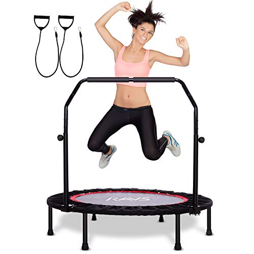 RAVS Mini Trampoline for Kids Adults, 40' Foldable Fitness Rebounder Kids Trampoline with 5 Levels Height Adjustable Handle Resistance Bands, Exercise Trampoline Indoor Workout Max Load 350lbs