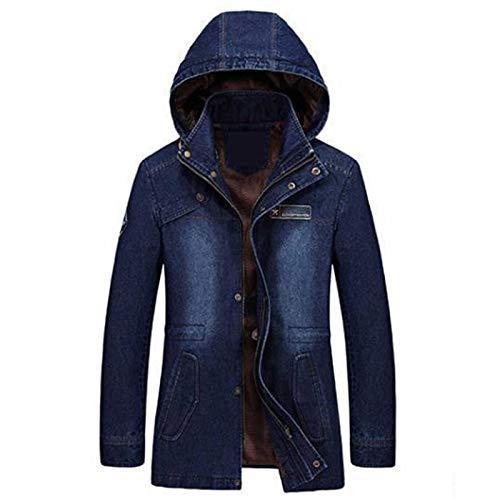 Otoño Invierno Denim Chaqueta De Los Hombres De La Moda De Mitad Largo Con Capucha Cuello Jeans Abrigo De Los Hombres Cortavientos Azul Jean Chaqueta