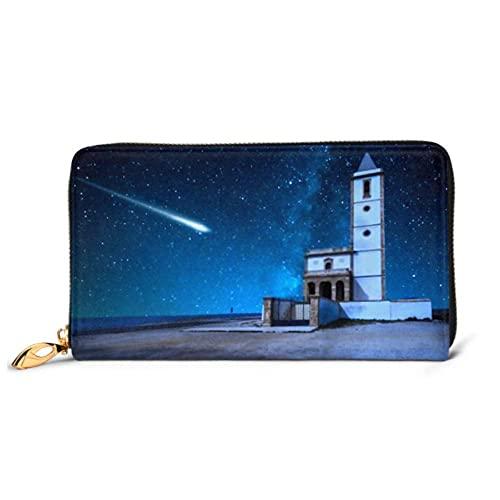 Ahdyr Fashion Handbag Cremallera Cartera Perseid Meteor Shower Vía Láctea sobre el teléfono Embrague Monedero Tarde Embrague Bloqueo de Cuero Pared