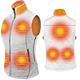 ARRIS Women`s Heated Vest, Size Adjustable 7.4V Electric Warm Vest 8 Heating Panels with Battery Pack White …