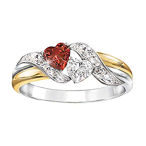 Kecar Double Love Fashion Crystal Jewelry Lover Gift Ladies Ring, Rings, Jewelry & Watches (A)