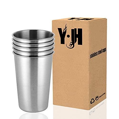 YWTT Taza de Acero Inoxidable, Vaso de Cerveza de Metal Reutilizable, Vaso apilable, Taza sin BPA, para Acampar, Senderismo, Actividades al Aire Libre, en Interiores, niños - 500 ml / 17 oz (paqu