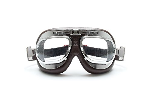 BERTONI Glasses for Motorcycle Retro Aviators with Anti-Fog Lenses and Steel Frame Black Matte AF193A Italy Motorcycle Goggles for Harley and Chopper Helmets Mod