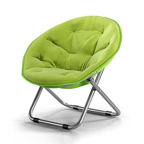 Home-life Faltender runder Stuhl-Sofa-Stuhl-Segeltuch-Sonnenliege liegend Mond-Stuhl, der Balkon-Stuhl 80x51x76cm rutscht (Farbe : Green)