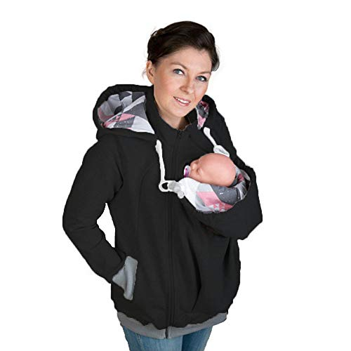 Womens Mutterschaft Hoodie Polar Fleece-Sweatshirt, Baby Carrier Mäntel 3 In1 Soft Kangaroo Zipper Up Jacke Für Mama Und Baby,Black,L