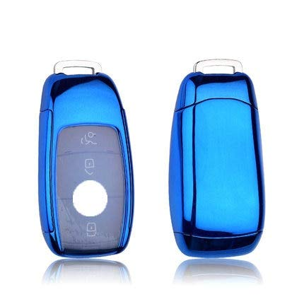 TPU Car Key Cover Case Shell Bag Llavero Protector para Mercedes Benz 2017 E Class W213 2018 S Class Accesorios Azul