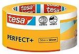 tesa 56538 Pintar Perfect+ -Cinta de Carrocero de Papel Tipo Washi Fino-Trabajos de Pintura y Enmascarado de Precisión, Amarillo, 50 m x 50mm