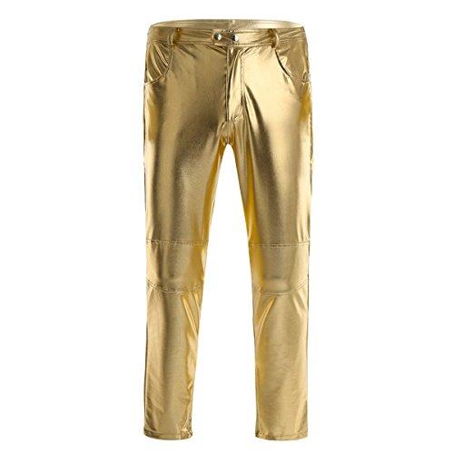 iiniim Herren Hosen Wetlook Männer Lederhose Glanz Hose Pants Leggings Tanz Clubwear Schwarz M-4XL Gold M