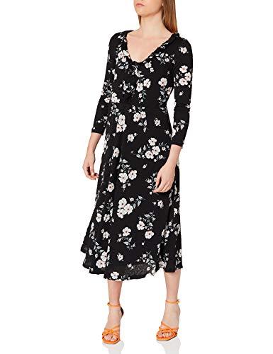 Springfield Vestido Midi Escote Volante, Negro, S para Mujer