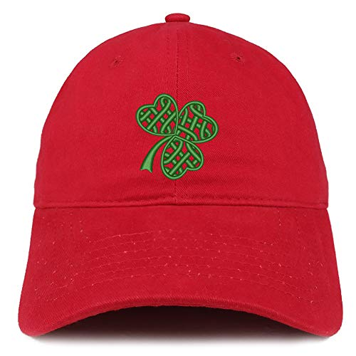 Trendy Apparel Shop Celtic Clover Embroidered 100% Cotton Adjustable Cap Dad Hat - RED