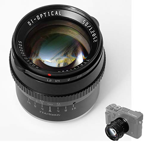 TTArtisan 50mm F1.2 Lens APS-C Cameras Lens Manual Focus Compatible with Fujifilm Mount Camera X X-M X-H X-T X-PR0 X-E XS10